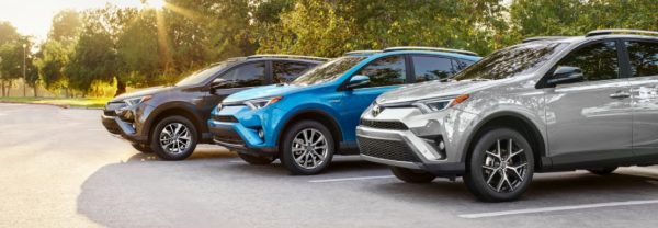 Three 2018 Toyota RAV4 crossover SUVs.