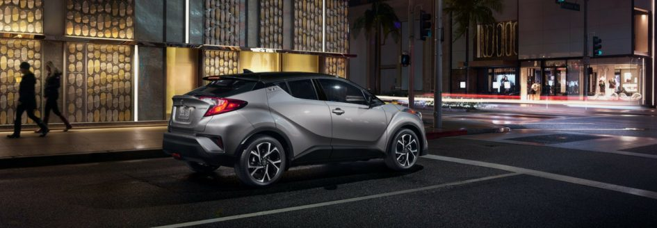 2019 Toyota C-HR parked downtown after dark