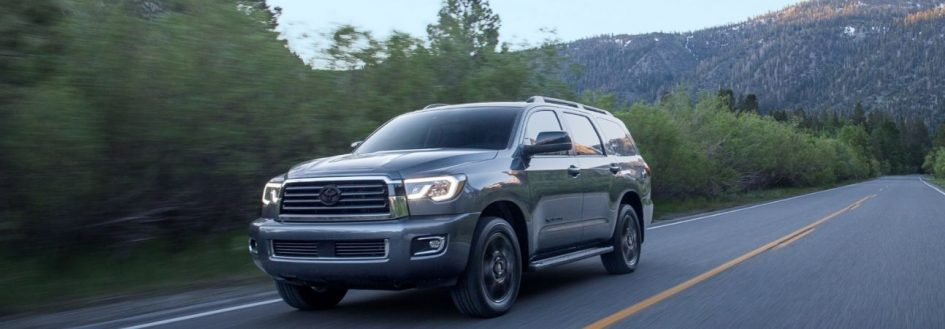 2020 toyota sequoia driving through the mountains